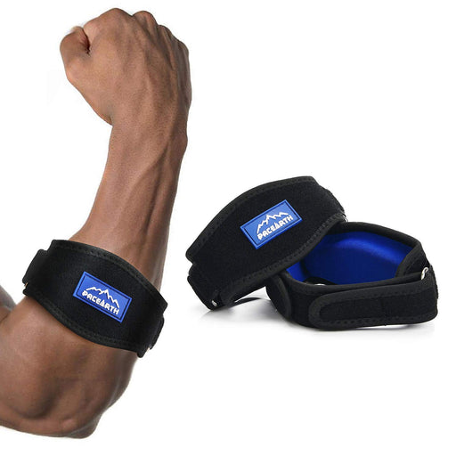 PACEARTH Tennis Elbow Brace with Durable Metal Buckle Thick Compression Pad- 2 Pack