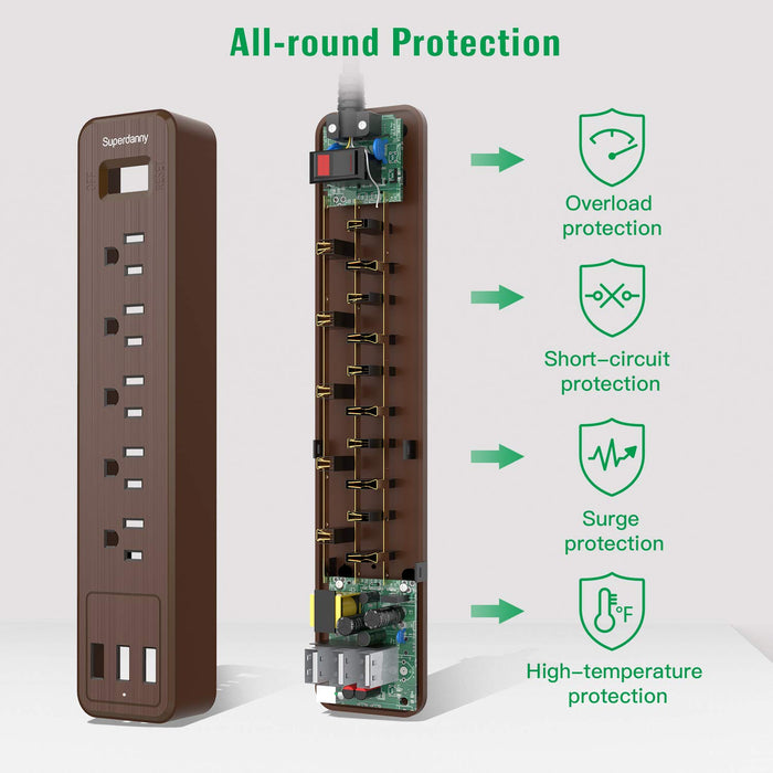 SUPERDANNY USB Surge Protector Power Strip-Brown