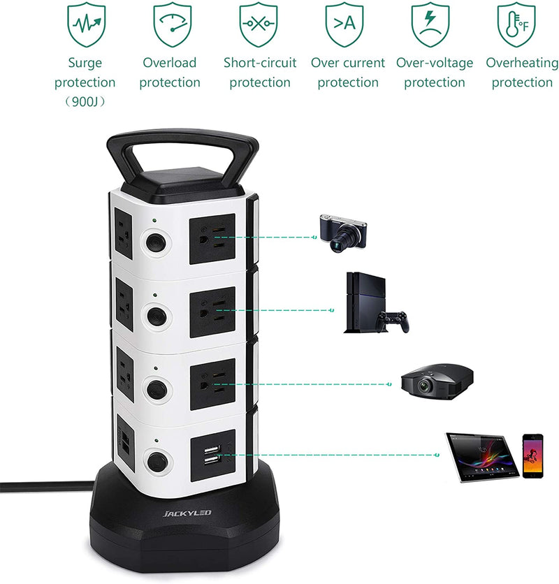 JACKYLED Power Strip Tower 14 Outlet Plugs with 4 USB Slot 3000W