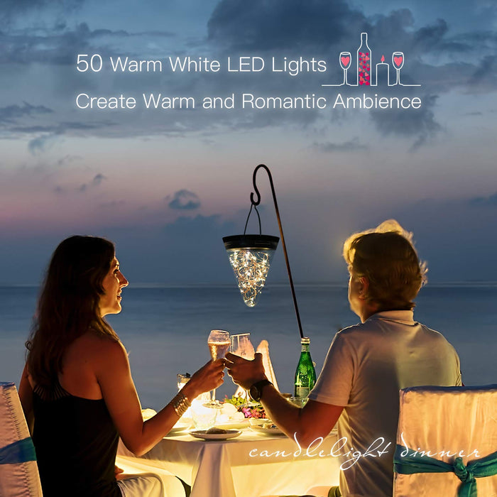 JACKYLED 50 LED Solar Lantern Lights 1-Pack