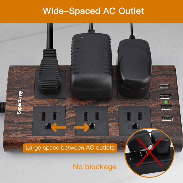 SUPERDANNY  10ft 14AWG 15A Surge Protector Power Strip with USB - Dark Walnut Brown