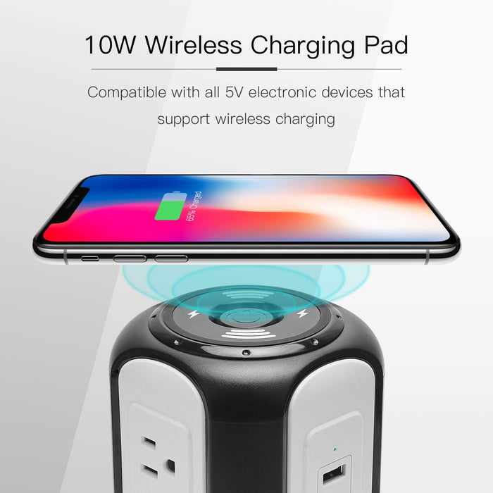 SUPERDANNY 10ft Power Strip Tower Wireless Charger