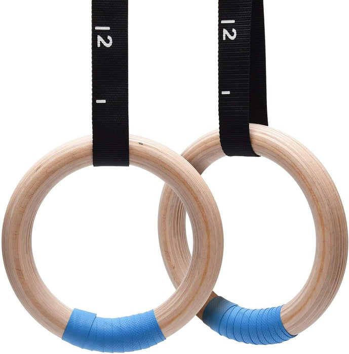PACEARTH 32mm Wood Gymnastics Rings 1500lbs/992lbs (32mm)