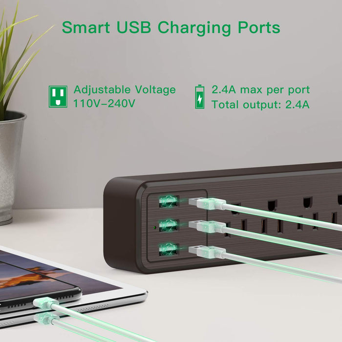 SUPERDANNY USB Surge Protector Power Strip