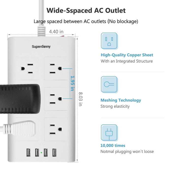 SUPERDANNY 10ft 15A Surge Protector Power Strip White
