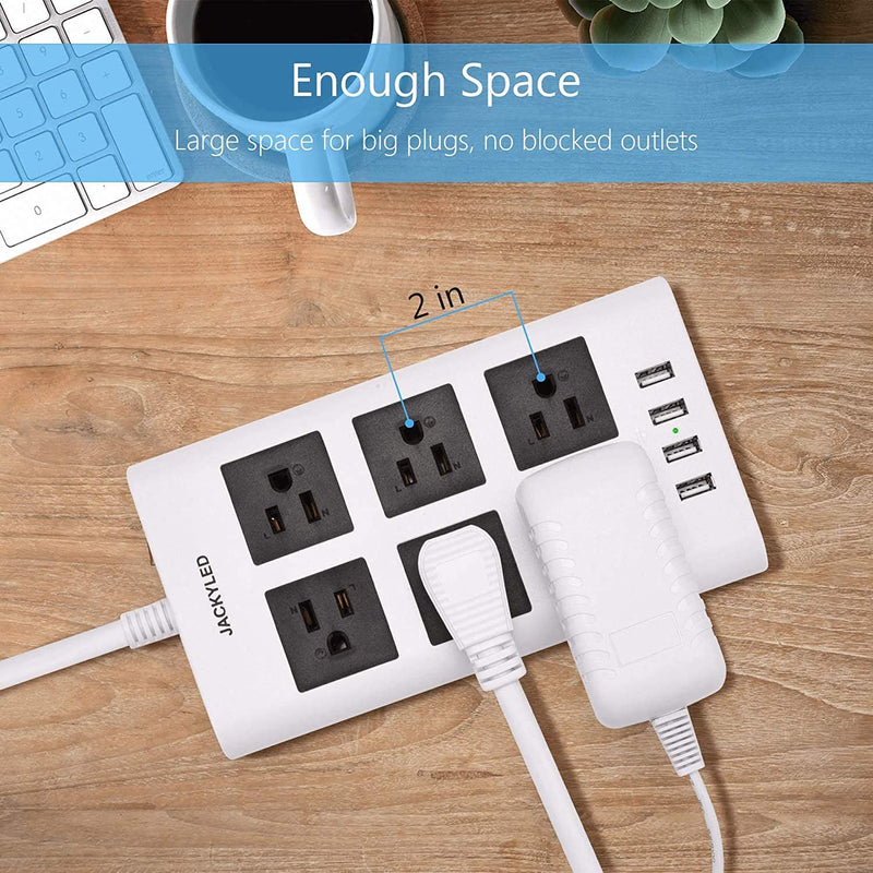 JACKYLED 9.8 Ft Flat Plug Power Strip, 3.1A 4 USB Ports 6 Outlets