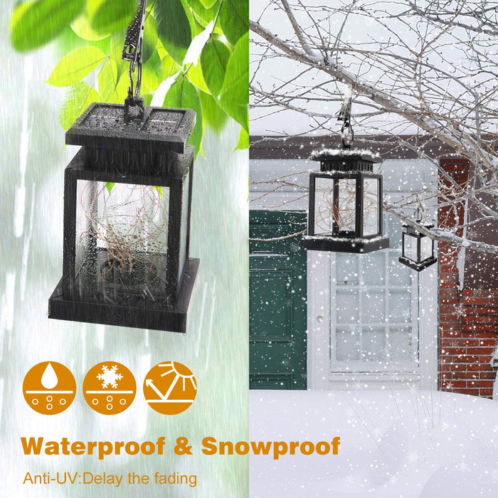 SUPERDANNY 4 Pack Solar Lanterns Outdoor Hanging Waterproof Solar Powered Lamps