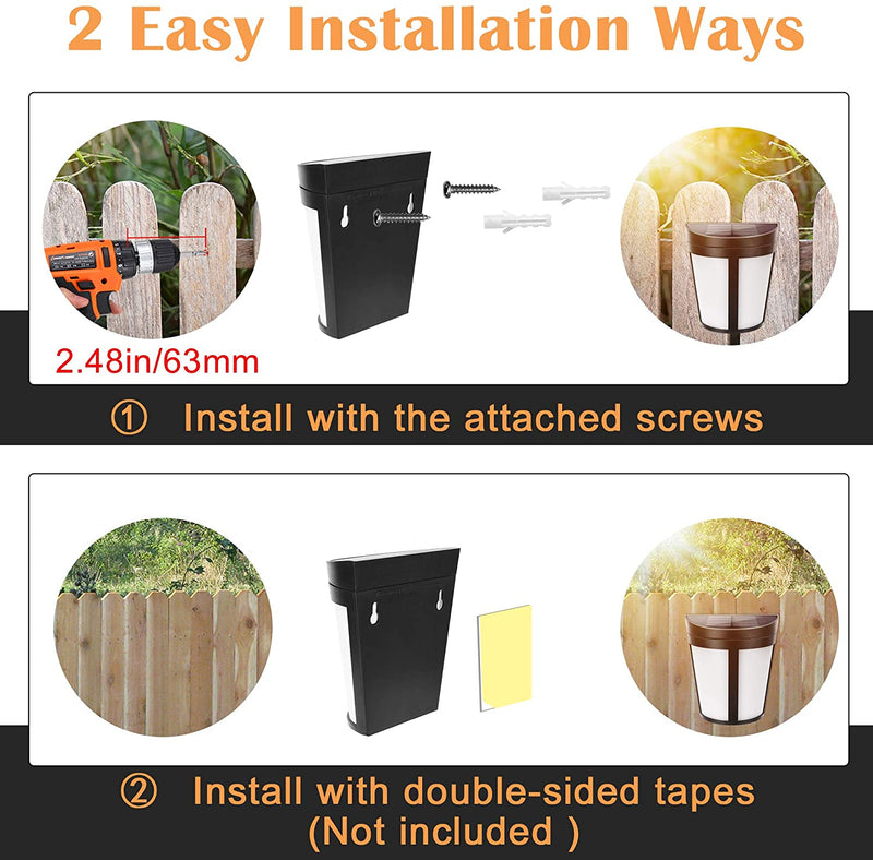 Solar Fence Lights Outdoor JACKYLED LED Solar Step Lights with 2 Modes 8-packs