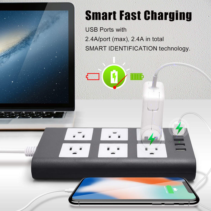 SUPERDANNY Surge Protector Power Strip with USB Gray White
