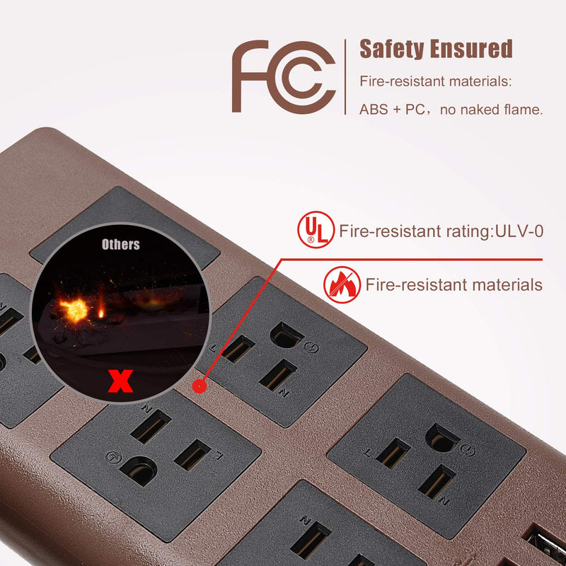 SUPERDANNY 9.8ft 15A Surge Protector Power Strip with USB