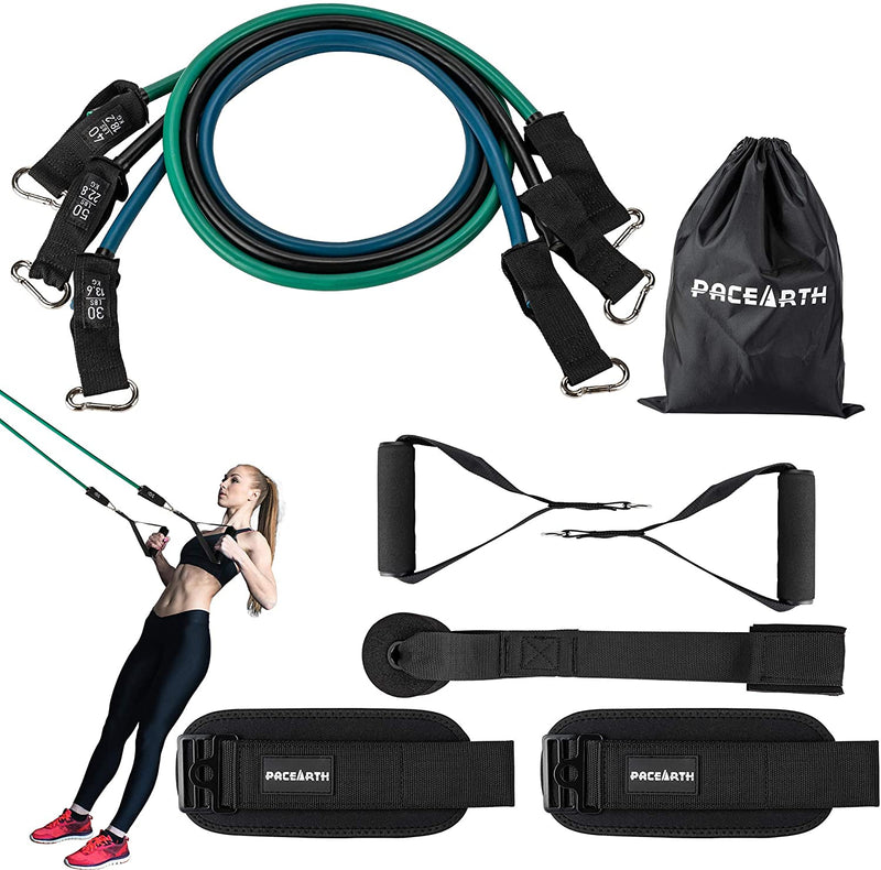 PACEARTH Resistance Bands Set with Larger Handles, Stackable Exercise Bands