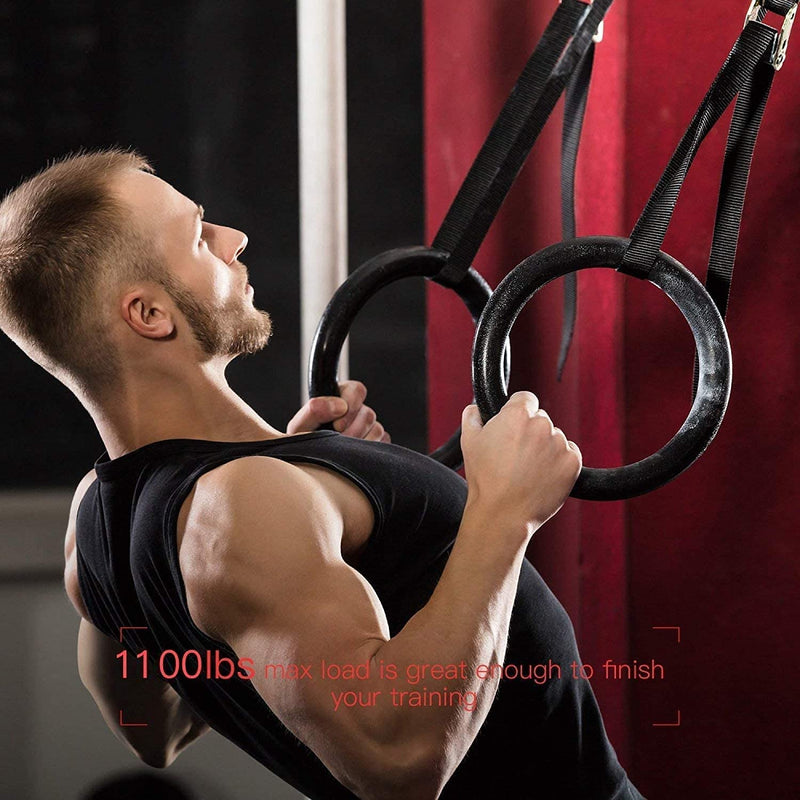 PACEARTH Gymnastic Rings 1100lbs Capacity with 14.76ft Adjustable Buckle Straps