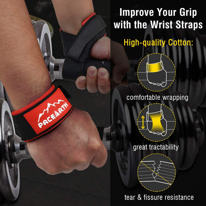 PACEARTH Lifting Wrist Straps with Fastener 6mm Thick Neoprene Padded Non-Slip Dots