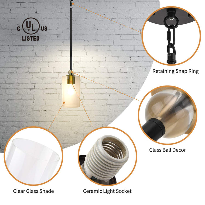 UL Glass Pendant Light with LED Bulb JACKYLED