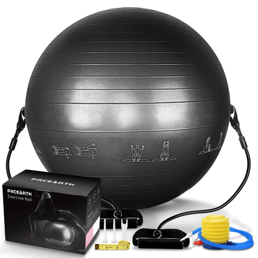 PACEARTH Exercise Ball with Resistance Bands