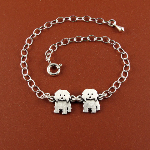 Coton de Tulear bracelet - two charms