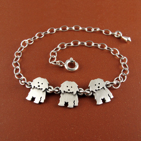 Coton de Tulear bracelet - three charms