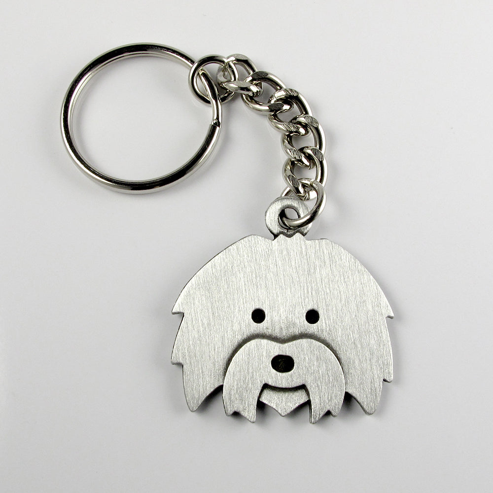 Coton de Tulear keychain - pewter