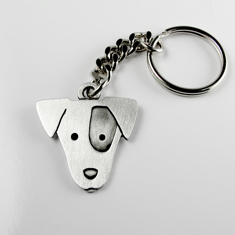 Jack Russell keychain - pewter