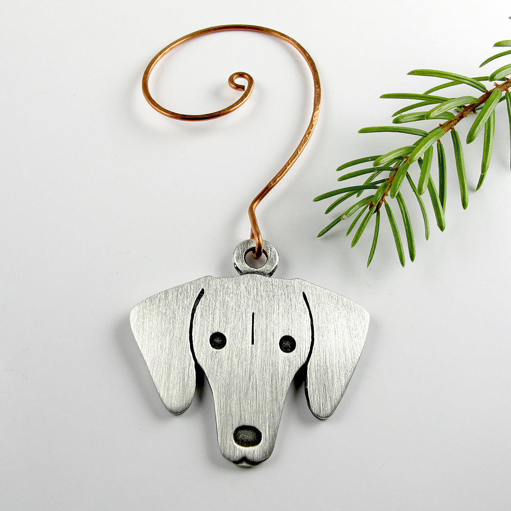 Dachshund Christmas tree ornament - pewter