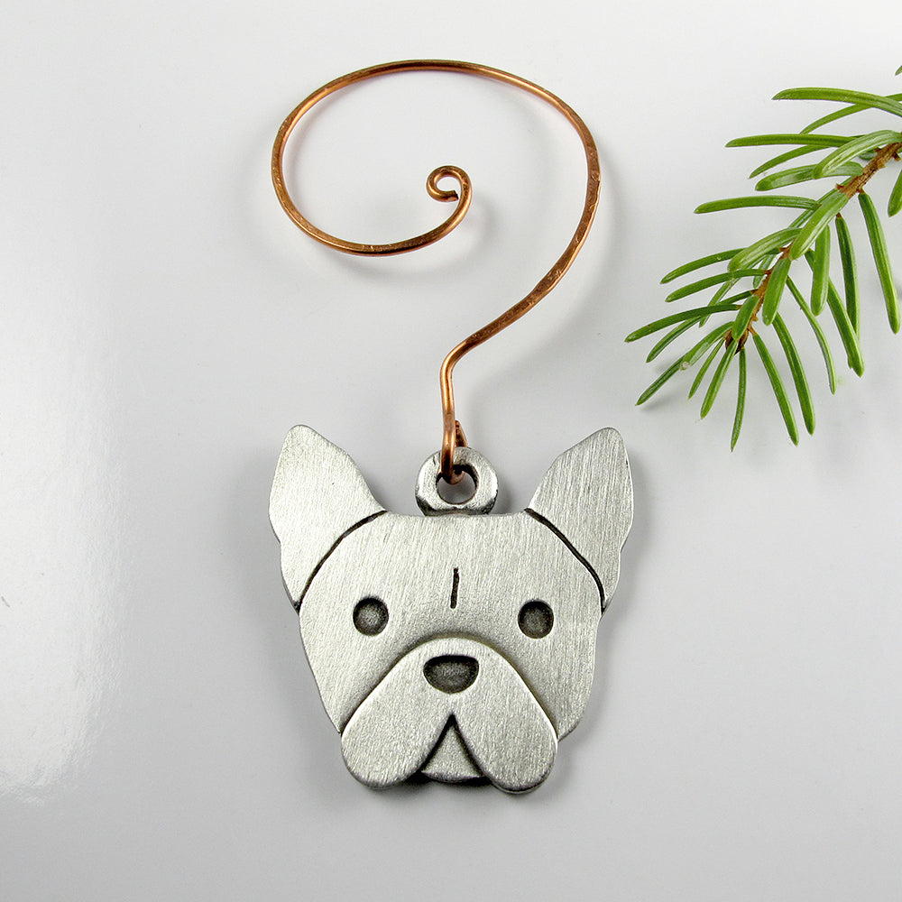 French bulldog Christmas tree ornament - pewter