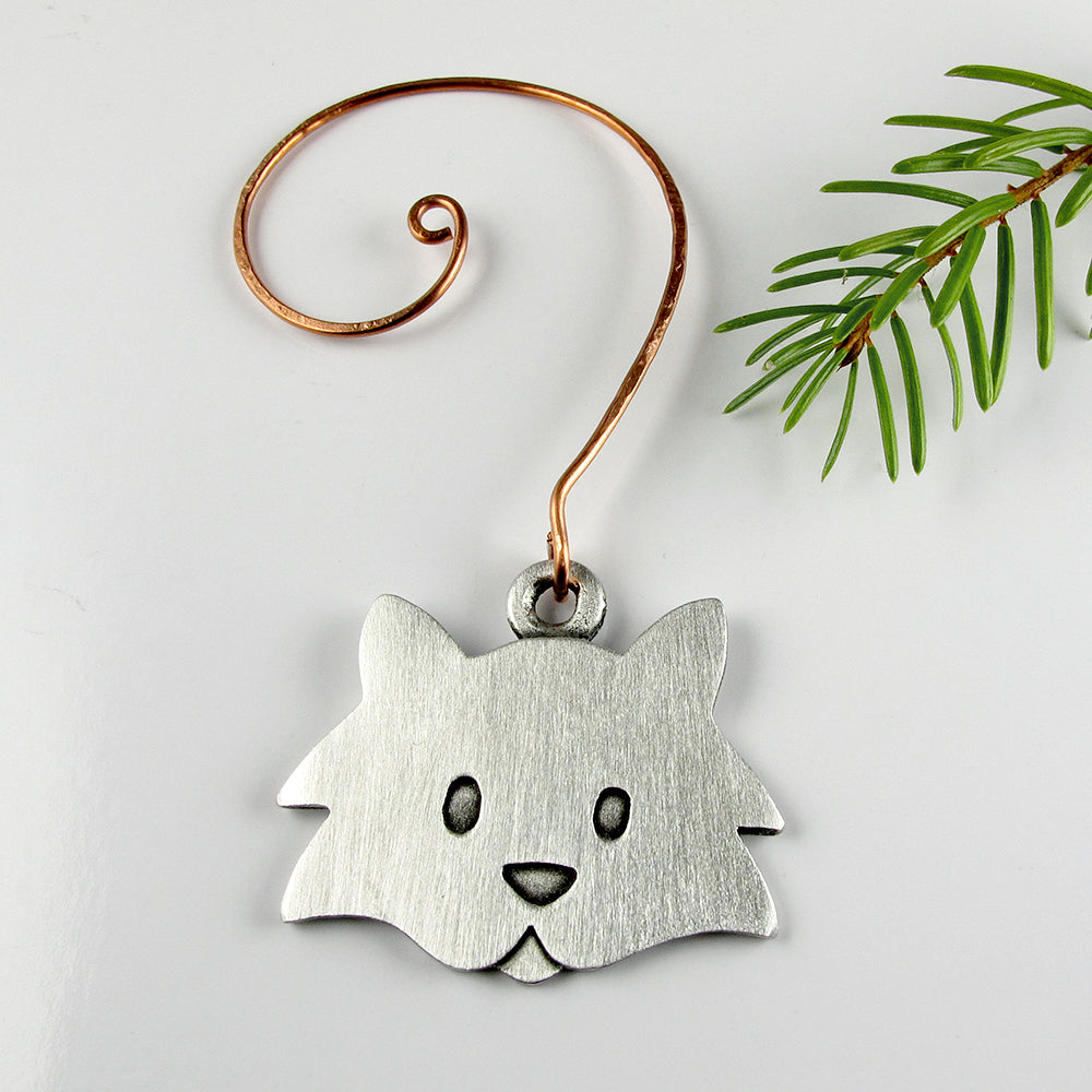 Fuzzy cat Christmas tree ornament - pewter