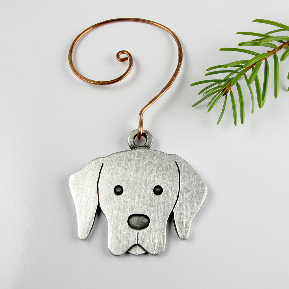 Labrador Retriever Christmas tree ornament - pewter