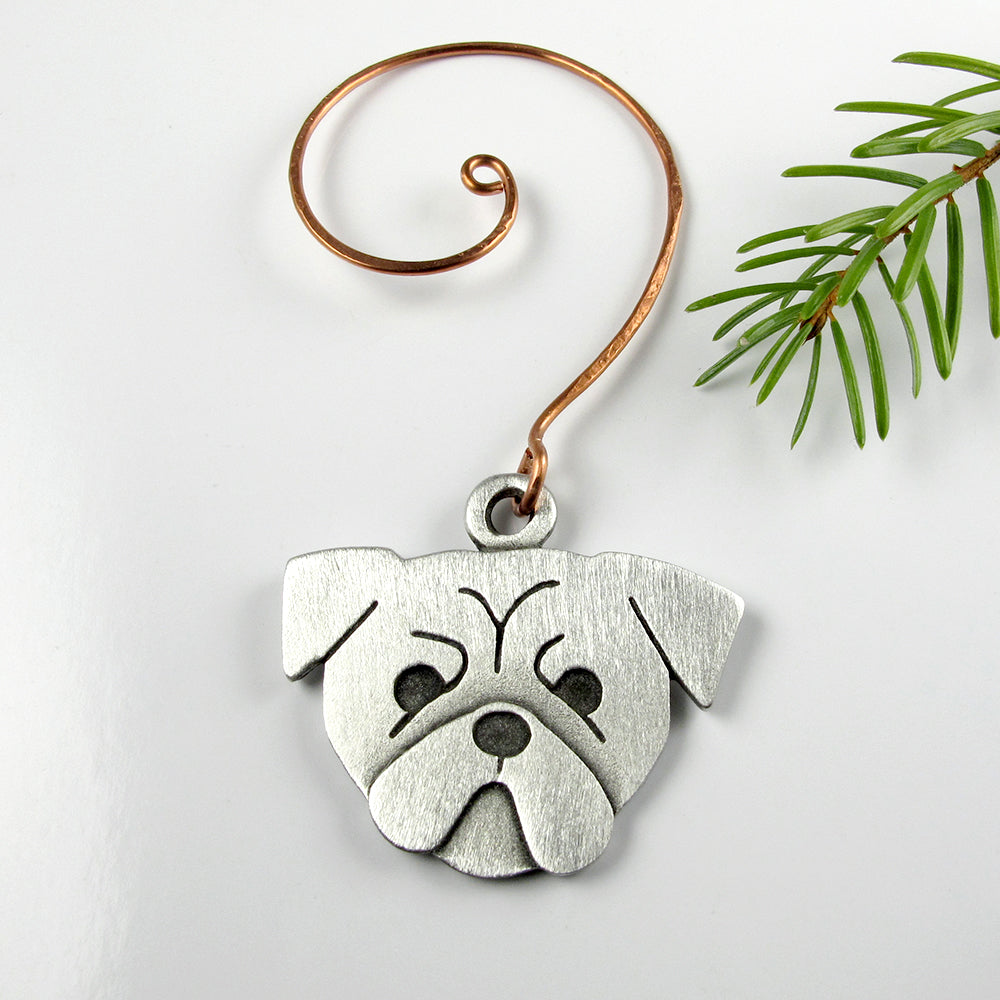 Pug Christmas tree ornament - pewter