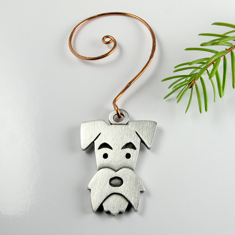 Schnauzer Christmas tree ornament - pewter