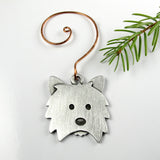 Westie Christmas tree ornament - pewter