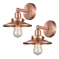 WILDSOUL 40011AC-2 Vintage One-Light Wall Fixture, Antique Copper Finish Vanity Lights, LED Compatible Modern Farmhouse Wall Sconce, Pack of 2