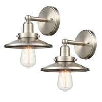 WILDSOUL 40011SN-2 Vintage One-Light Wall Fixture, Brushed Nickel Finish Vanity Lights, LED Compatible Modern Farmhouse Wall Sconce, Pack of 2