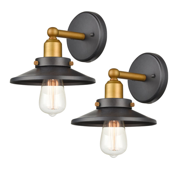 WILDSOUL 40011TG-2 Vintage One-Light Wall Fixture, Graphite Finish Vanity Lights, LED Compatible Modern Farmhouse Wall Sconce, Pack of 2