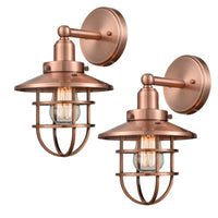 WILDSOUL 40021AC-2 Vintage One-Light Metal Cage Shade Wall Fixture, Antique Copper Finish Vanity Lights, LED Compatible Modern Farmhouse Wall Sconce, Pack of 2