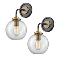 WILDSOUL 40041AB-2 Modern Farmhouse Globe Wall Sconce, LED Compatible Vintage Wood Rustic Clear Glass Wall Light Fixture, Brass Parts/Industrial Distressed Oak, Black and Antique Brass, Pack of 2