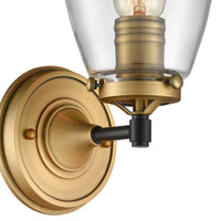 WILDSOUL 1 Light Wall Light 40051-AB Vanity Light, Clear Glass Cone Shade with Real Brass Parts Wall Sconces, Antique Brass Finish Wall Light Fixtures, Set of 2