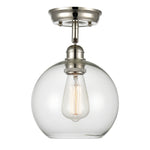 WILDSOUL 60011PN Glass Globe Semi Flush Mount Light, Polished Nickel Finish with Clear Glass, LED Compatible Contemporary Modern Ceiling Light Fixture, Sloped Ceiling Adapter