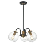 "WILDSOUL 10023BK 22"" Modern Farmhouse 3-Light Globe Pendant Chandelier/Semi-Flush, LED Compatible Vintage Wood Rustic Clear Glass Hanging Light Fixture, Brass/Distressed Oak, Black and Antique Brass"