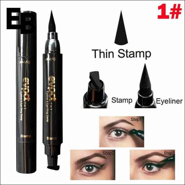 2 in 1 Double Head Eyeliner With Winged Stamp - 1# Thin