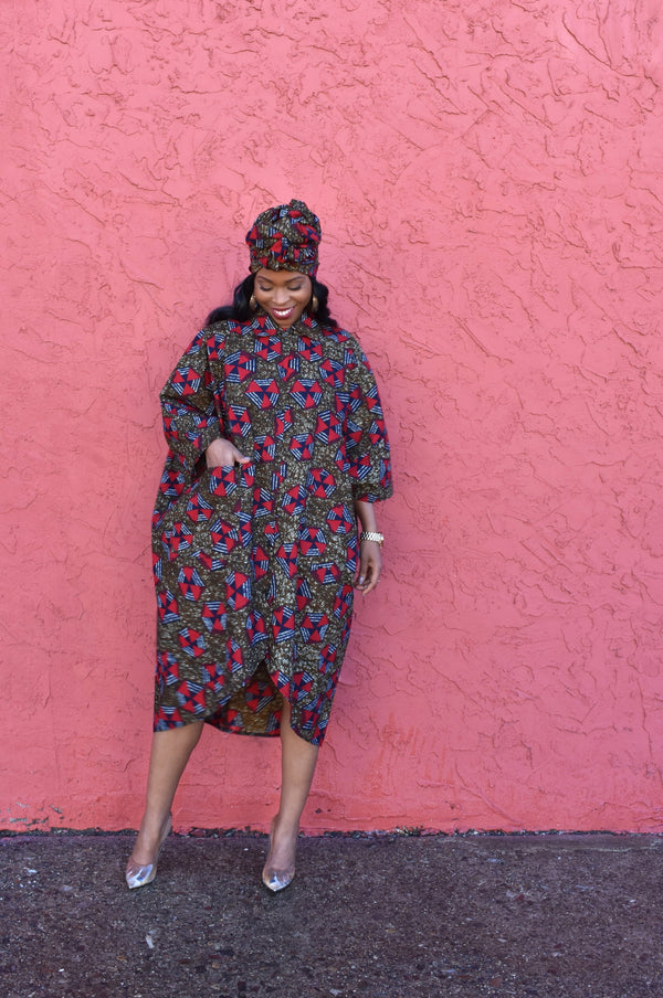 SOKOTO Shirt Dress & Scarf Set