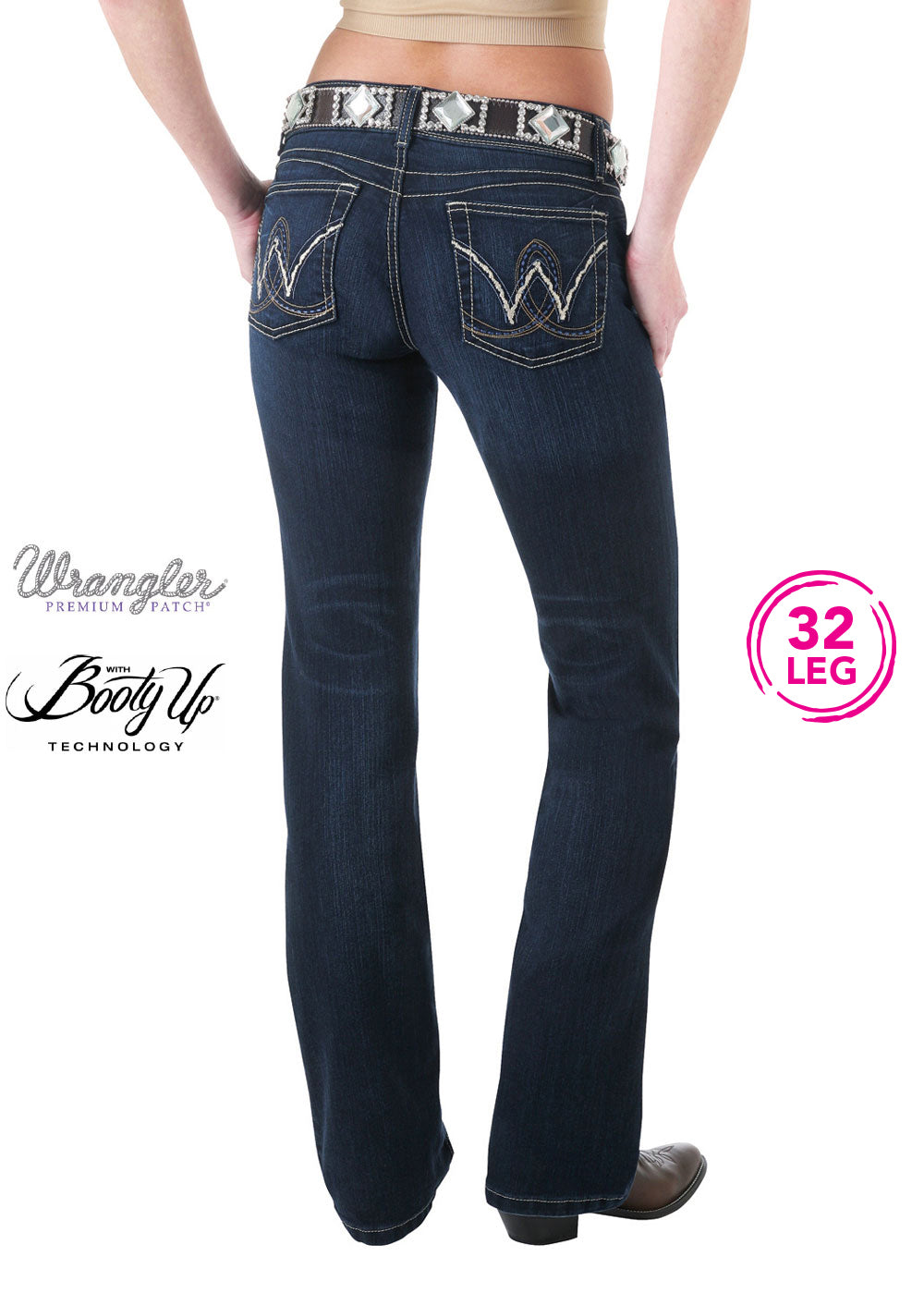 WMN P/PATCH BOOTY UPSITS ABOVE HIP JEAN 32