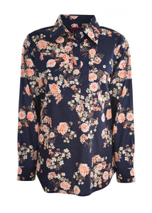 WMNS PRINT HALFPLACKET L/S SHIRT