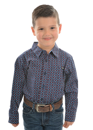 BOYS STEVE PRINT BUTTON DOWN LS SHIRT