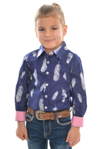 GIRLS FEATHER PRINT LS SHIRT