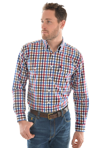 MENS EVANS CHECK 2 PKT L/S SHIRT
