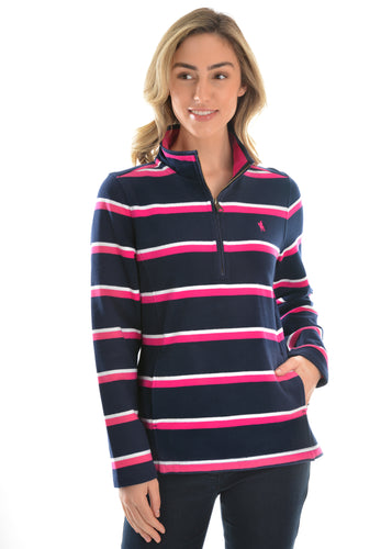 WMNS BATHURST STRIPE 1/4 ZIP RUGBY