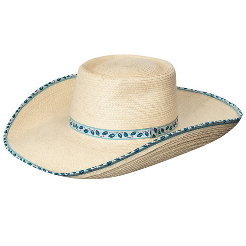 SUNBODY HAT AVA STANDARD PALM 4.5 INCH BRIM BLUE LEAVES BOUND EDGE