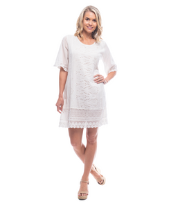 ESSENTIALS BRODERIE DRESS 3/4 SLEEVE
