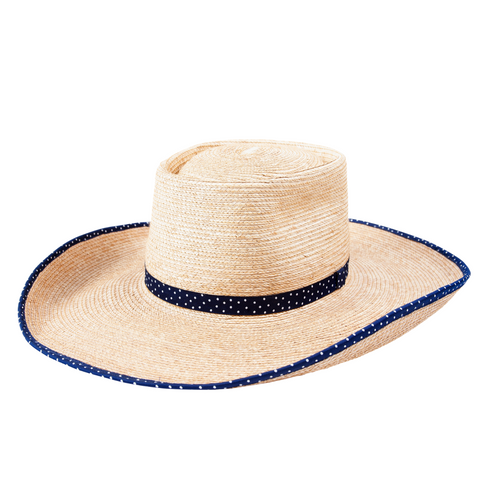 SUNBODY HAT AVA OAK PALM 4.5 INCH BRIM NAVY POLKA DOT BOUND EDGE