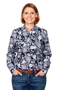 JC WMS GEORGIE HALF BUTTON PRINT WORKSHIRT
